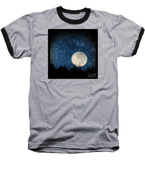 Moon, Tree And Stars Baseball T-Shirt