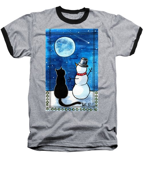 Moon Watching With Snowman - Christmas Cat Baseball T-Shirt