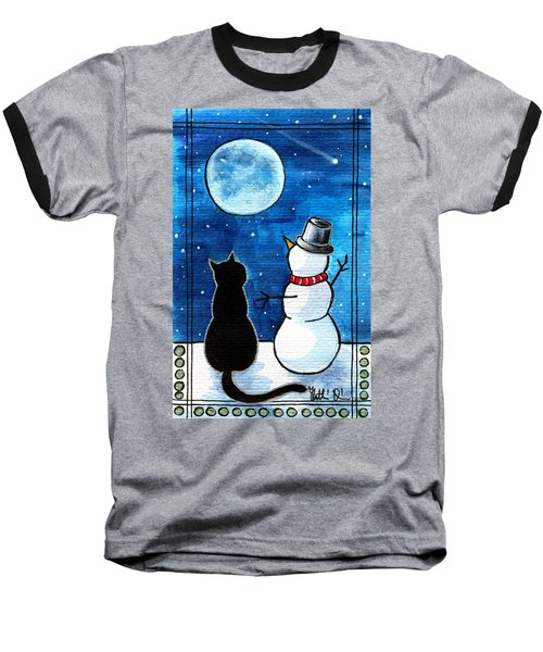 Moon Watching With Snowman - Christmas Cat Baseball T-Shirt