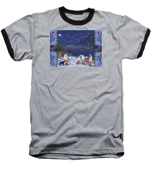 Baseball T-Shirt featuring the painting Moon When The Rivers Dream by Chholing Taha