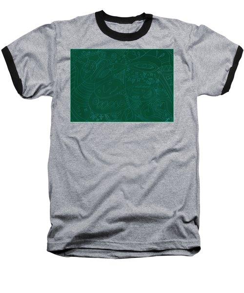 Moonfish Drawing Negative Green Chalk Baseball T-Shirt