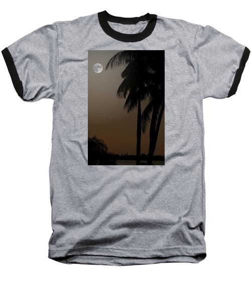 Moonlight And Palms Baseball T-Shirt by Diane Merkle
