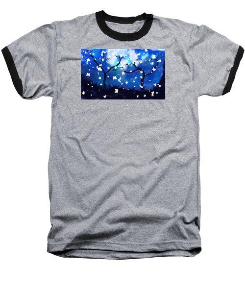 Moonlight Butterflies Baseball T-Shirt