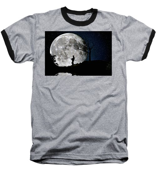 Moonlight Fishing Under The Supermoon At Night Baseball T-Shirt by Justin Kelefas