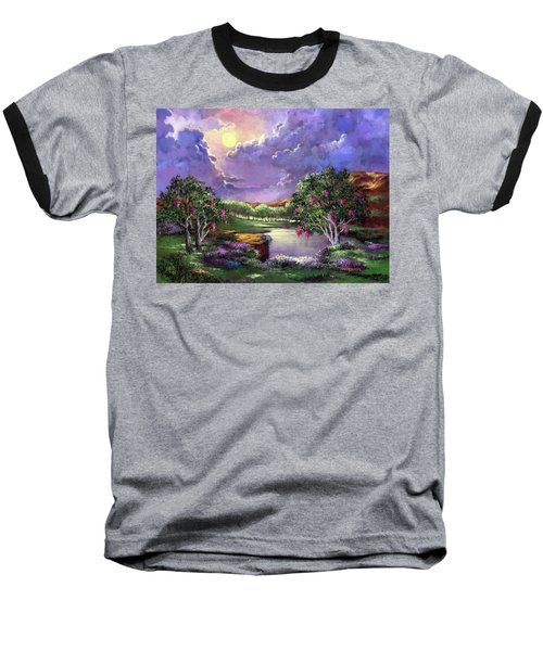 Moonlight In The Woods Baseball T-Shirt by Randy Burns