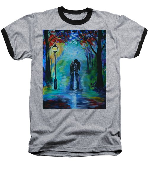 Baseball T-Shirt featuring the painting Moonlight Kiss by Leslie Allen