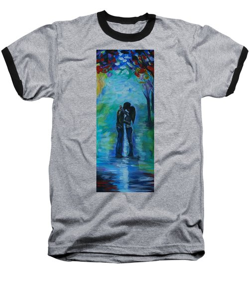 Baseball T-Shirt featuring the painting Moonlight Kiss Series 1 by Leslie Allen
