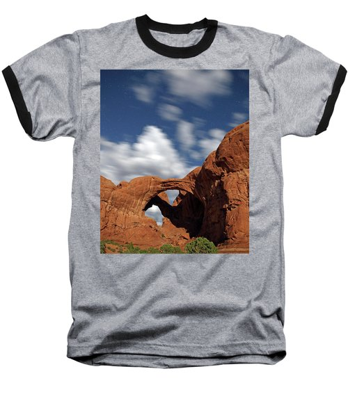Moonlight On Double Arch In Arches Np Baseball T-Shirt