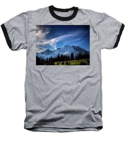 Moonlight On Mt Rainier Baseball T-Shirt