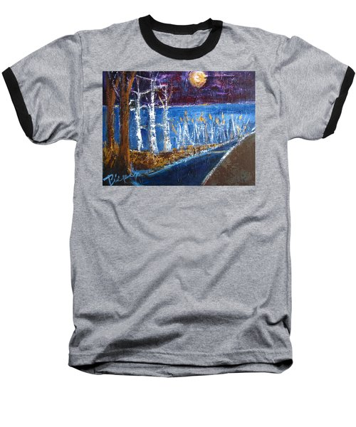 Baseball T-Shirt featuring the painting Moonlight On Path To Beach by Betty Pieper