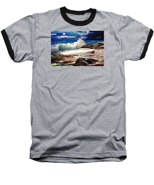 Moonlight On The Beach Baseball T-Shirt by Ron Chambers
