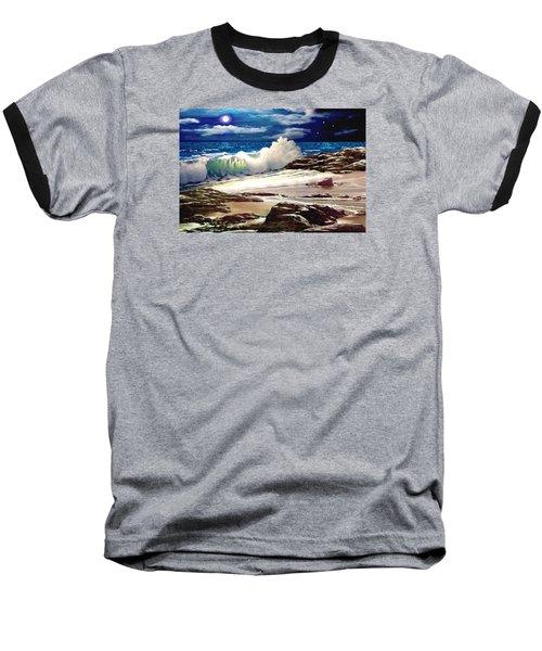Moonlight On The Beach Baseball T-Shirt