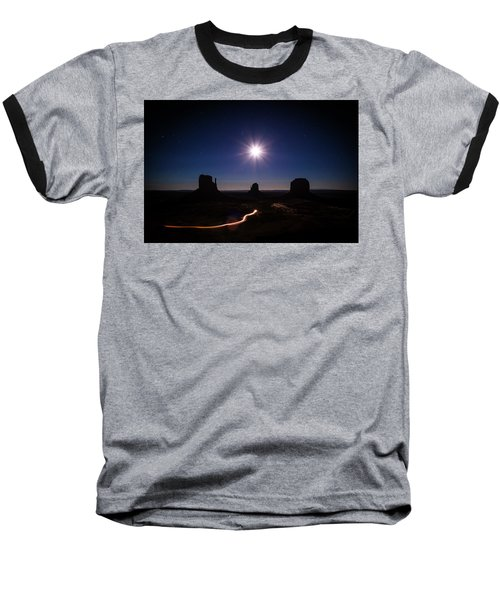 Moonlight Over Valley Baseball T-Shirt