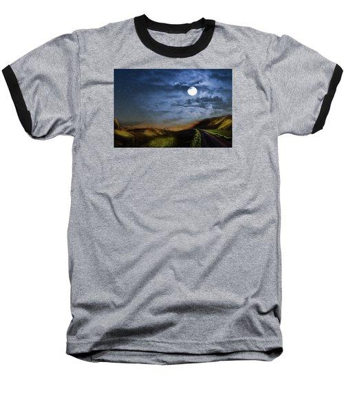 Moonlight Path Baseball T-Shirt by Swank Photography