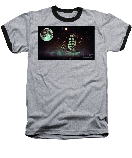 Moonlight Sailing Baseball T-Shirt