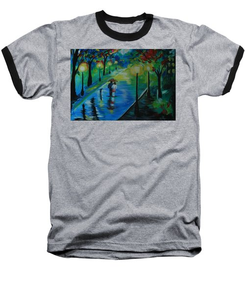 Baseball T-Shirt featuring the painting Moonlight Stroll by Leslie Allen