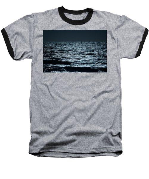 Moonlight Waves Baseball T-Shirt by Nancy Landry