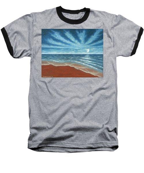 Moonlit Beach Baseball T-Shirt