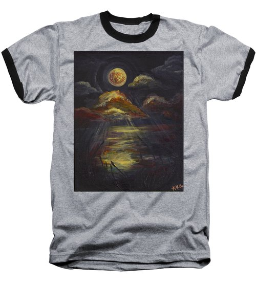 Moonlit Beach Guam Baseball T-Shirt