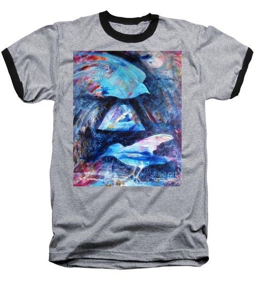 Moonlit Birds Baseball T-Shirt by Denise Hoag