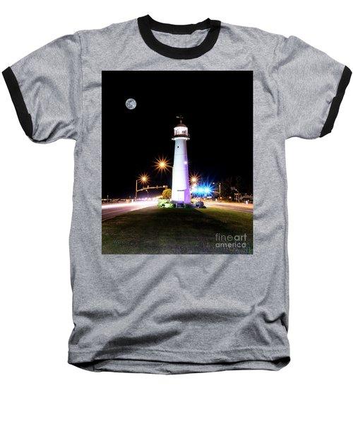 Moonlit Gulf Coast Lighthouse Seascape Biloxi Ms 4256b Baseball T-Shirt