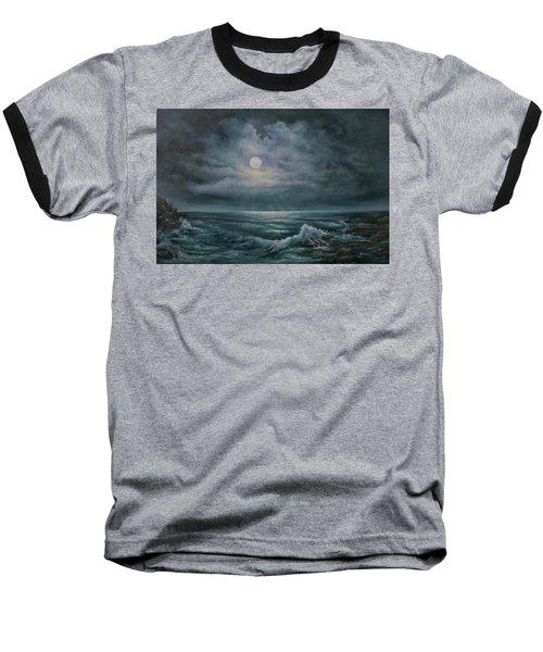 Moonlit Seascape Baseball T-Shirt