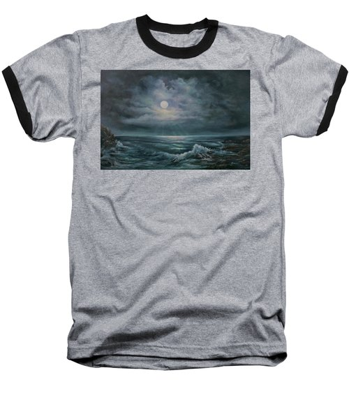 Moonlit Seascape Baseball T-Shirt