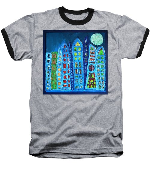 Moonlit Metropolis Baseball T-Shirt by Darrell Black