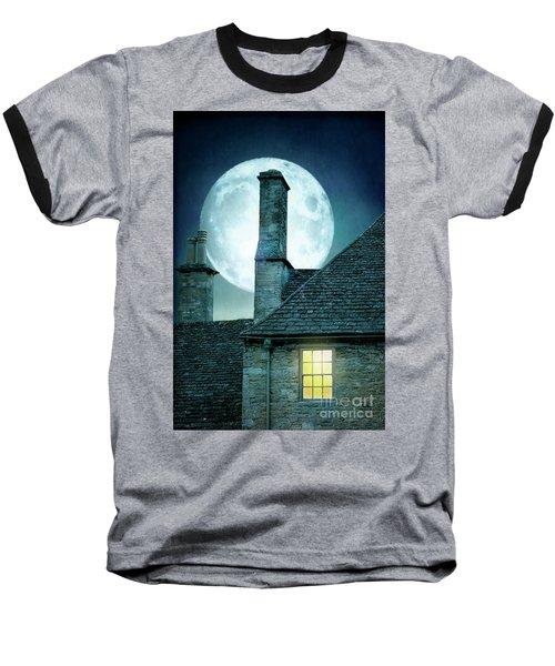 Moonlit Rooftops And Window Light  Baseball T-Shirt by Lee Avison