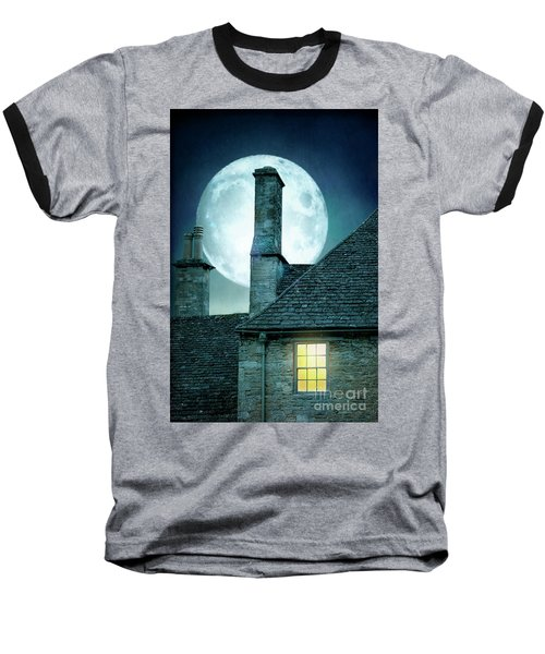 Moonlit Rooftops And Window Light  Baseball T-Shirt