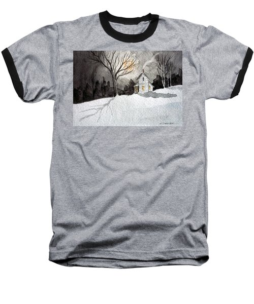 Moonlit Snow Baseball T-Shirt