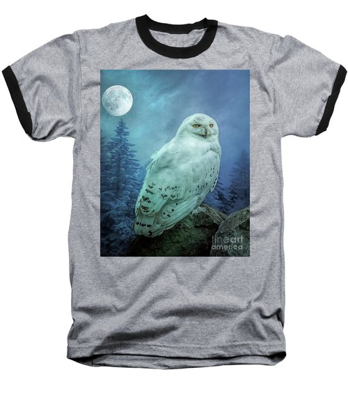 Moonlit Snowy Owl Baseball T-Shirt