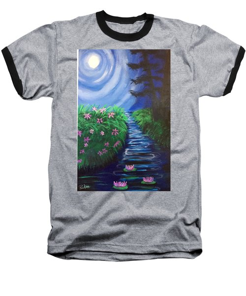 Moonlit Stream Baseball T-Shirt by Diana Riukas