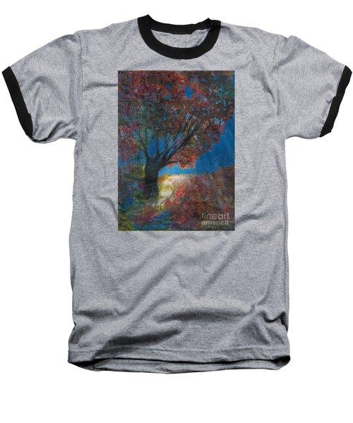 Moonlit Tree Baseball T-Shirt by Denise Hoag