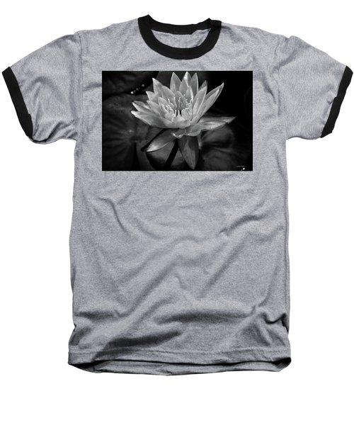 Moonlit Water Lily Bw Baseball T-Shirt