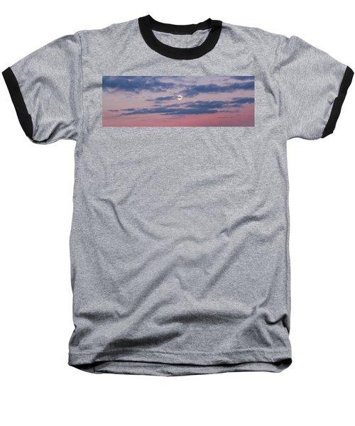 Moonrise In Pink Sky Baseball T-Shirt