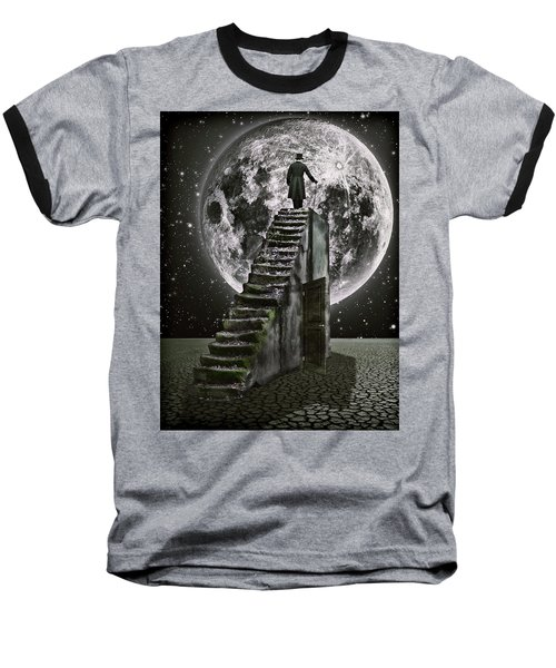 Moonrise Baseball T-Shirt by Mihaela Pater
