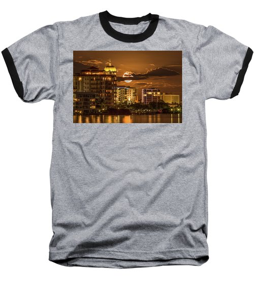 Moonrise Over Sarasota Baseball T-Shirt