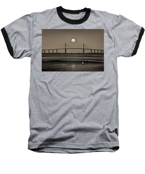 Moonrise Over Skyway Bridge Baseball T-Shirt by Steven Sparks
