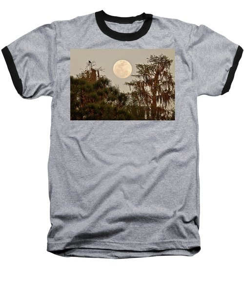 Moonrise Over Southern Pines Baseball T-Shirt