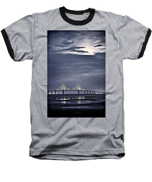 Moonrise Over Sunshine Skyway Bridge Baseball T-Shirt by Steven Sparks