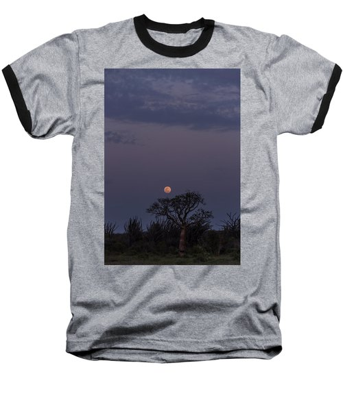 Baseball T-Shirt featuring the photograph Moonrise With Baobab And Octopus Trees by Alex Lapidus