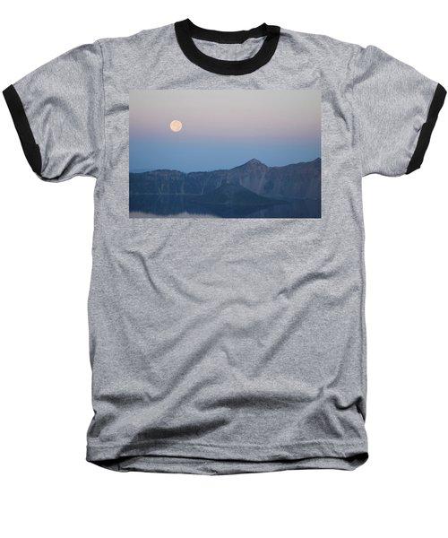 Moonset At Crater Lake Baseball T-Shirt