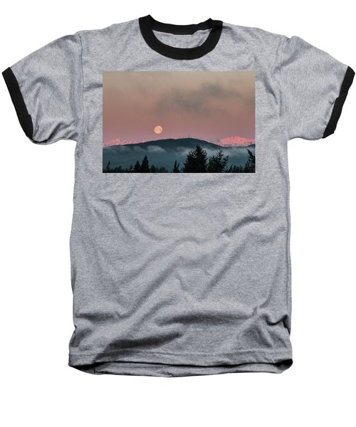 Moonset At Dawn Baseball T-Shirt