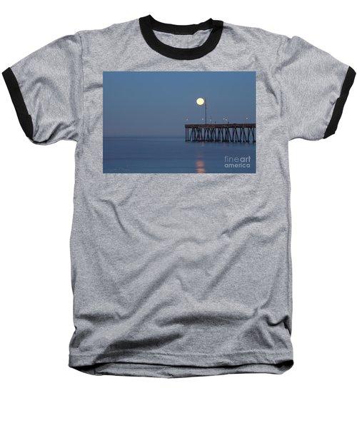 Baseball T-Shirt featuring the photograph Moonset At The Ventura Pier by John A Rodriguez