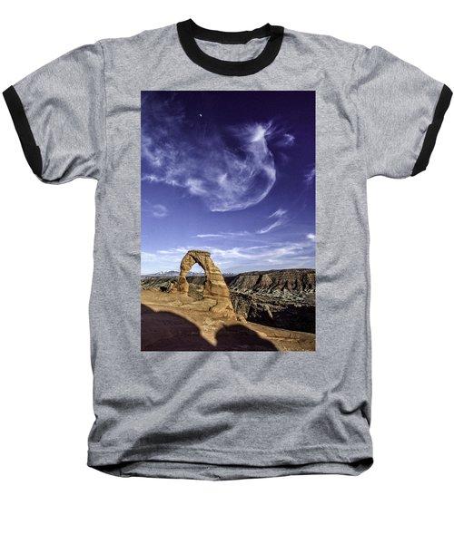 Moonset Delicate Arch Baseball T-Shirt