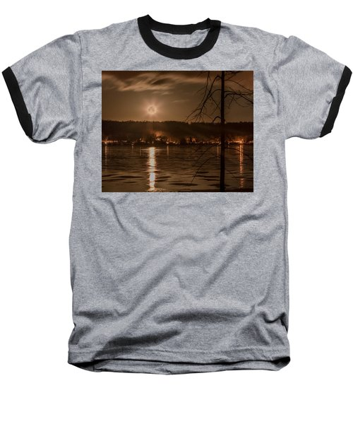 Moonset On Conesus Baseball T-Shirt by Richard Engelbrecht