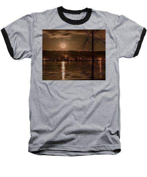 Moonset On Conesus Baseball T-Shirt