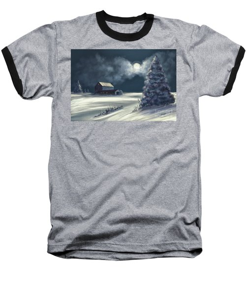 Baseball T-Shirt featuring the digital art Moonshine On The Snow by Lois Bryan