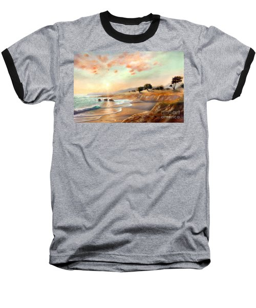 Baseball T-Shirt featuring the painting Moonstone Beach California by Michael Rock